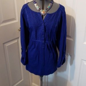 CharterClub Womens 2X Blue Used Tunic.